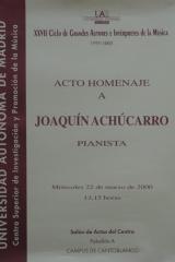 22 de marzo de 2000. XXVII Ciclo de Grandes Autores e Intérpretes de la Música