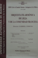 29 de octubre de 1999. XXVII Ciclo de Grandes Autores e Intérpretes de la Música