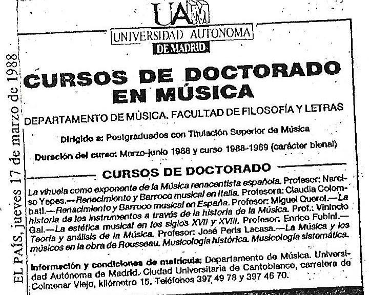 Anuncio Doctorado 1988
